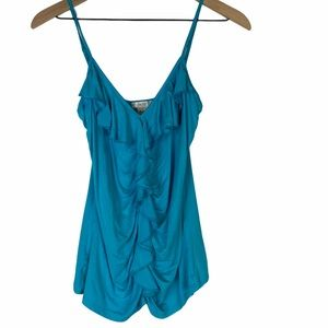 Caché Sexy Flattering Blue Ruffled top Small